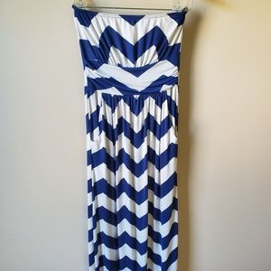 Strapless maxi, navy and white